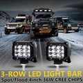 Auxbeam Cree Chips 2 pcs 4 polegadas 36 W Pontual/Flood Led Trabalho Luzes 6000 K Car Led de Condução farol Para Jeep/Toyota Picape Offroad 4WD