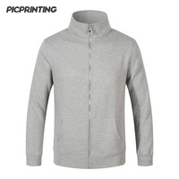 Autumn Winter Flannel Cardigan Men Solid Stand Hoodies Basic Style O Neck Long Sleeve Zipper Casual