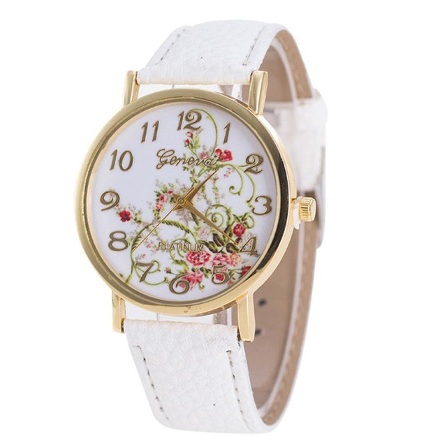 2018 New Fashion White Women Garden Flowers Watches Sport Analog Quartz Wrist Wa