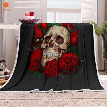 Floral Skull Throw Blanket 2