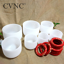 "CVNC  6"" 12"" Chakra Set of 7PCS Note CDEFGAB  440Hz or 432Hz  Frosted Quartz Crystal Singing Bowls with free Cushion Pad"