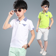 Kids Boys Short-sleeved Suit Summer Children's Cotton T-shirt + Boy Shorts 5-15 Years Teenager Boy' Sets Polo Tee + Shorts