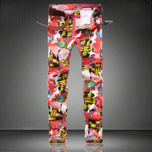 Red Cartoon Print Jeans Dashion Designer Man Classic Trousers D4193