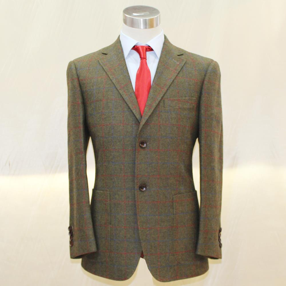 heavy DARK army green wool with RED/BLUE big window plain uk style mans business casual  ...