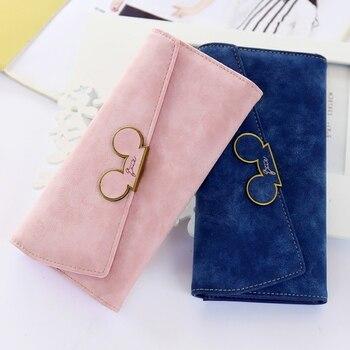 Thời Trang mới thiết kế Màu Sắc Tẩy Tế Bào Chết Dài Phụ Nữ Wallet Ladies Mickey Purse Coin ví holders Lady Pocket Ví