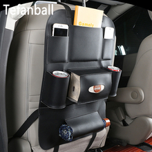 Tefanball Car Seat Back Hanging Organizer Bag Universal Auto Multi pocket PU Leather Pad Cups Storage Holder Bag Foldable Shelf