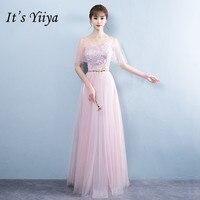 It's YiiYa Appliques Floor length Lace Mesh Bridesmaid Dresses Elegant Many Styles Back Slim A line Frocks B012