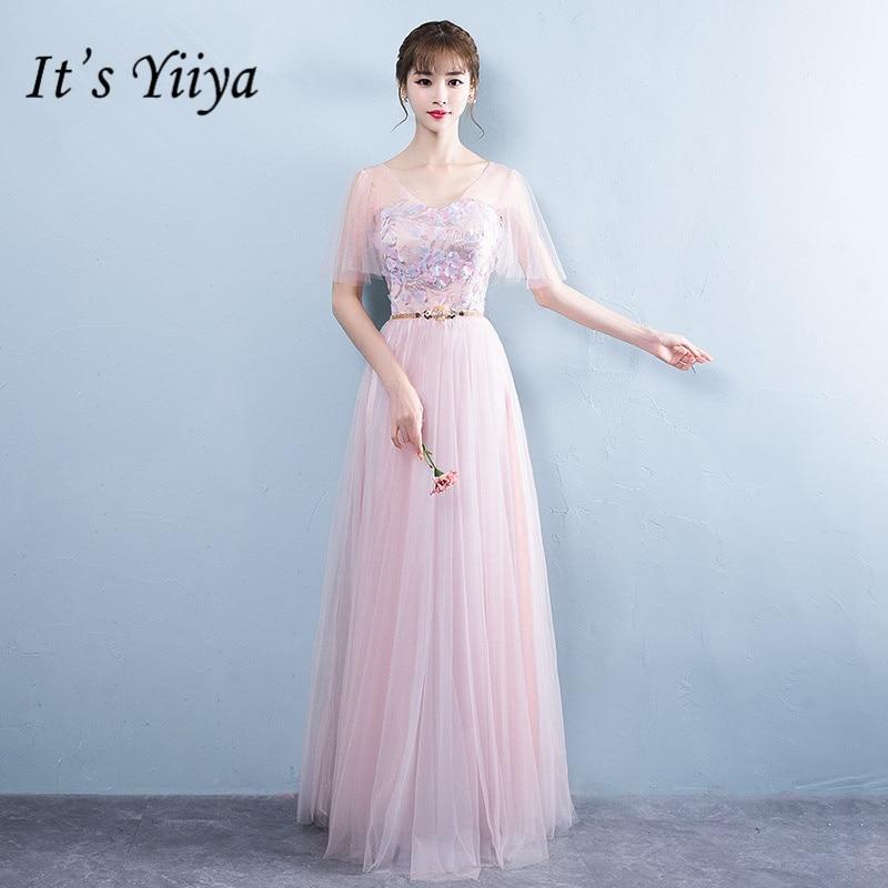 It's YiiYa Appliques Floor-length Lace Mesh   Bridesmaid     Dresses   Elegant Many Styles Back Slim A-line Frocks B012