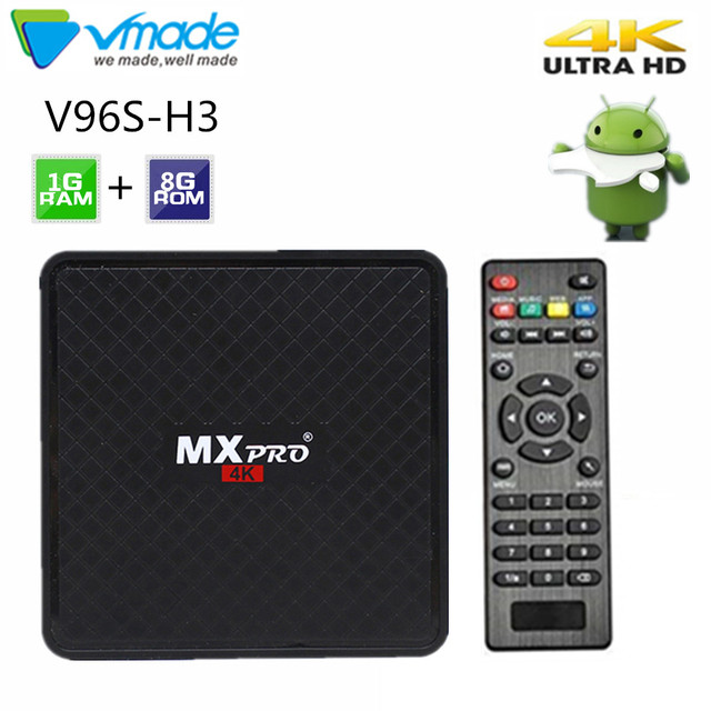 Vmade V96S H3 HD Android TV BOX Android 7,0 caja de TV inteligente Allwinner H3 Quad Core WiFi IP TV twitter Set top box 1GB+8GB