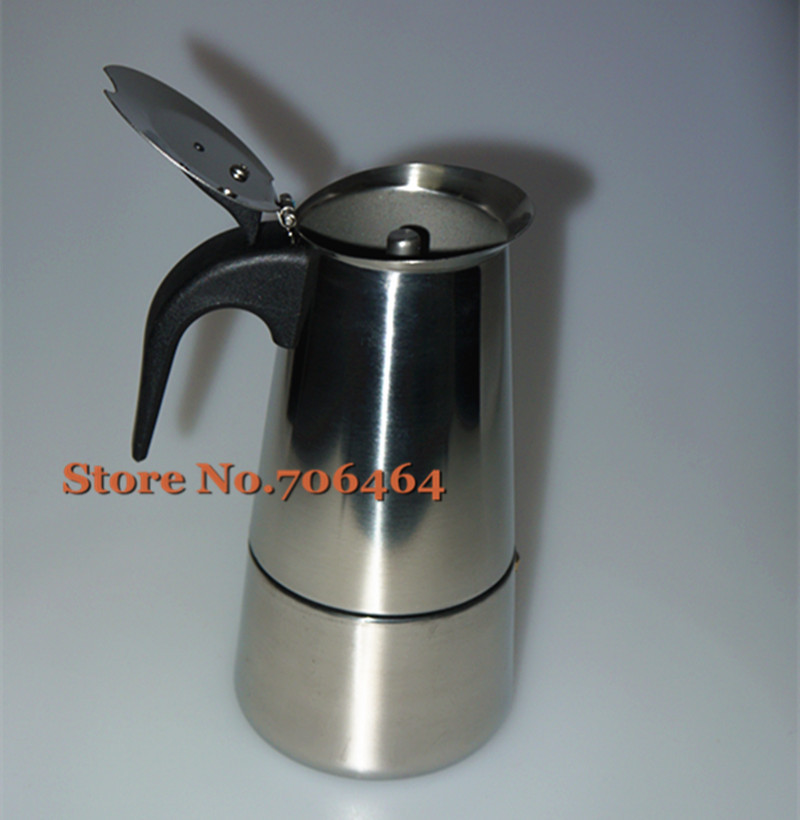 240ML Wholesale stovetop coffee pot Moka coffee maker/moka pot,high qualityEspresso coffee pot stainless steel moka coffee maker