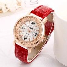 цены Korean Version of The Trend White Rhinestone Ladies Watch Women's Quartz Gift Luxury Fashion Alloy Dial Pin Buckle Leather Strap