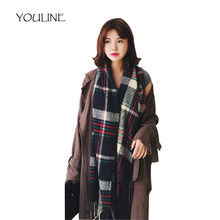 Youline 2018 marca de lujo mujer bufanda Cachemira Plaid bufandas gruesas  borlas Bandana mujer bufandas para ff14a9bd04e