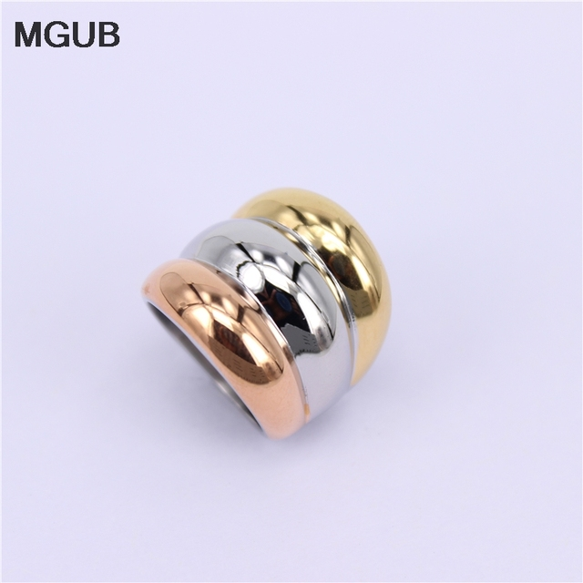 MGUB 6#-9# 22mm wide Hip hop 3 in one color stainless steel classic Ring Pretty