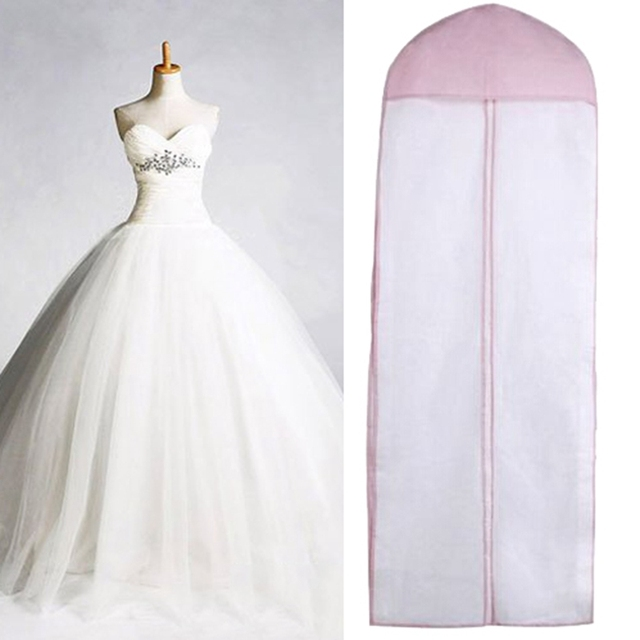 Double Sided Tulle Crystal Yarn Wedding Bridal Dress Dust Cover With Zipper For Home Wardrobe
