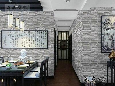 Chinesischen Stil Esszimmer 3D Tapete Stein Ziegel Design Hintergrund Wand  Pvc Tapete Moderne Für Wohnzimmer