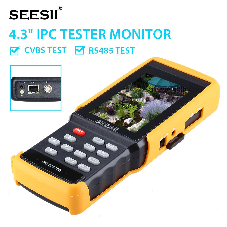 SEESII IPC9300S 4.3 Tester Monitor 1080P IPS IPC CCTV Camera CVBS PTZ Control Horizontal Vertica WIFI 8GB IP Discovery Portable ...