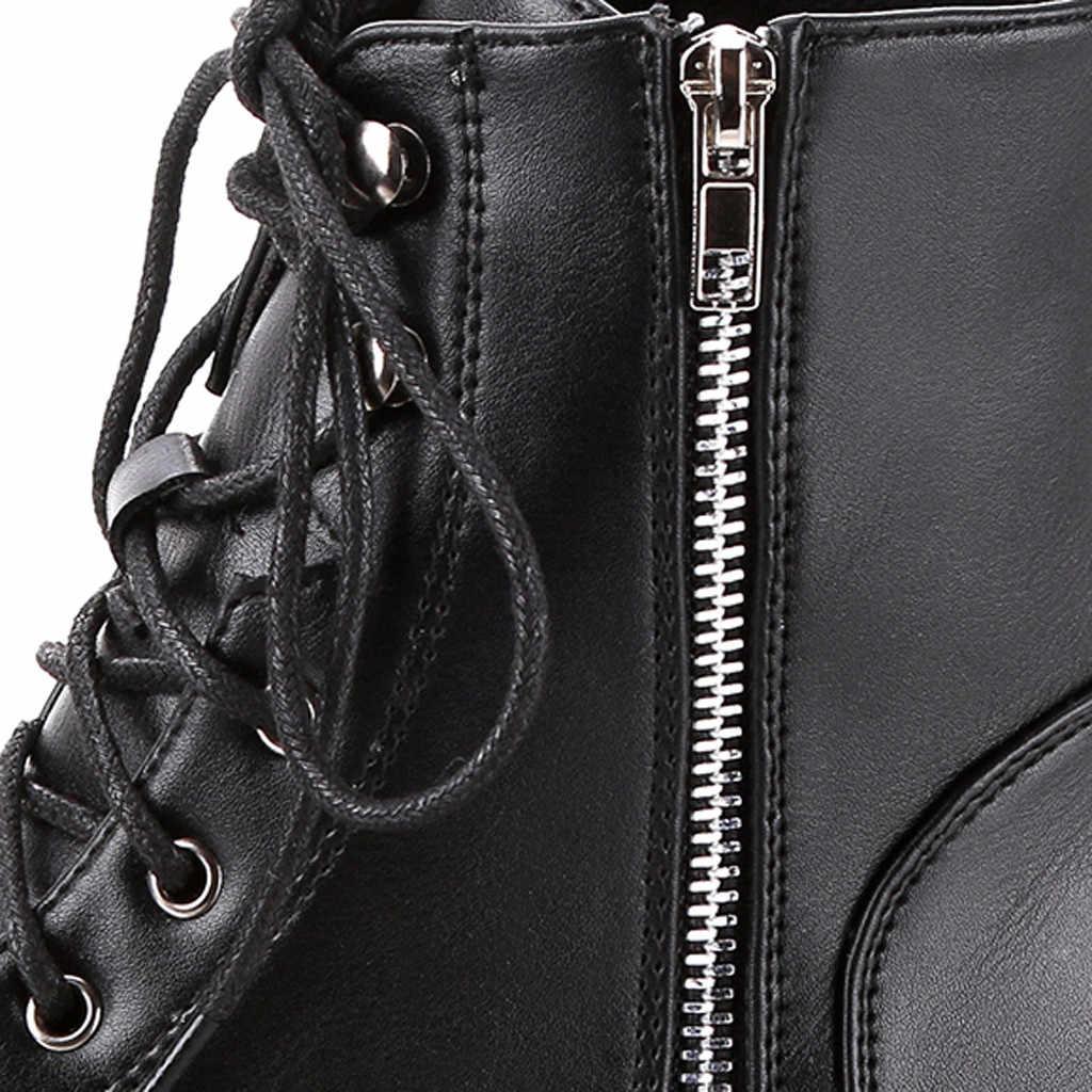 Mùa đông Giày nữ chống nước da bò nữ thu đông Xe Máy màu đen Giày Nữ Gót # G3