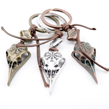 Fashion Punk Jewelry Nordic Viking Raven Skull Pendant Keychain Metal Crow Head Skull Amulet Rune Men Keychain Christmas Gift skull necklace raven skull