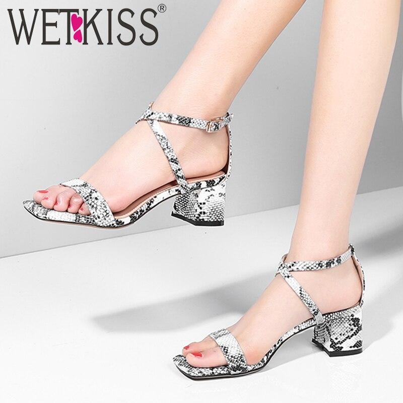 WETKISS Snake Cross Strap Sandals Women Open Toe Footwear Wedges Sheepskin High Heel Sandals Female Shoes
