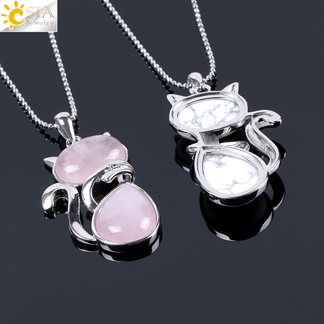 Ожерелье csja reiki из натурального камня подвески розового