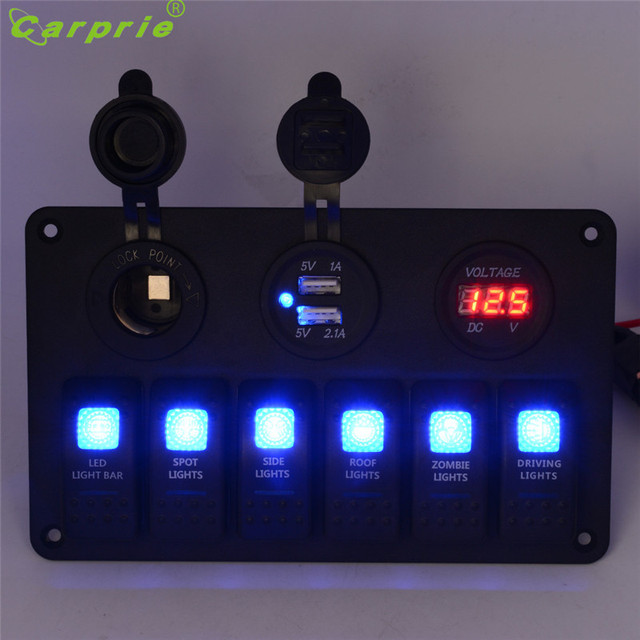 AUTO 6 Gang Waterproof Car Auto Boat Marine LED Rocker Switch Panel Circuit Breakers Switch Car Dash 12V metal switch Au 08