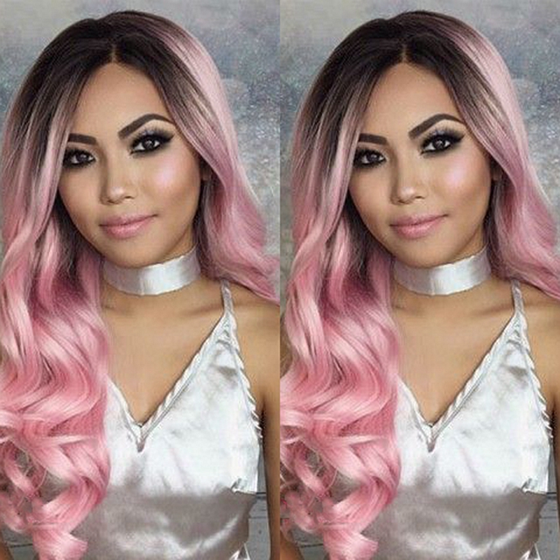 ФОТО Fashion ombre honey pink wig with dark roots premium black to pink synthetic lace front body wave wig heat resistant fiber hair