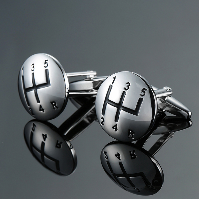 DY New High Quality Brass Material Luxury Car Manual Gear Silver Cufflinks Fashion Men's French Shirt Cufflink Free Shipping