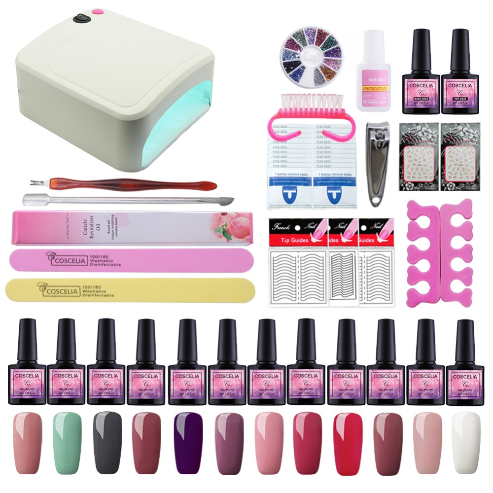 Manicure Set 36W UV Lamp Dryer Lamp For Nails Set For Gel Nail Polish Set For Manicure Nail Extension Set 12 Colors Gel Varnish m theory nails wraps stickers eastern plum flower 3d nails arts polish sticker gel varnish decals manicure decorations