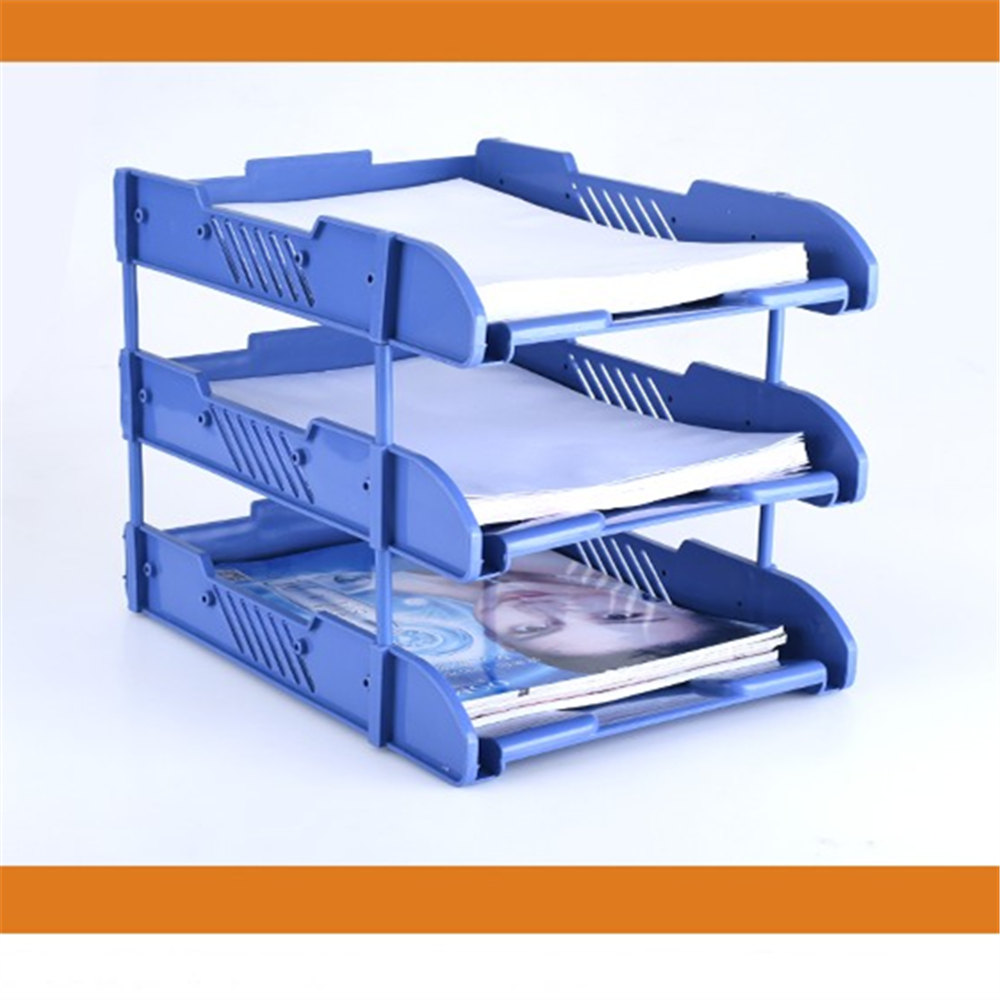 3 Layers Document File Tray Holders Desk Set Book Holder Bookend Organizer A4 Office School Supplies Desk Accessories manager folders with 4000mah mobile power multifunction cument holder manager holders office supply work accessories