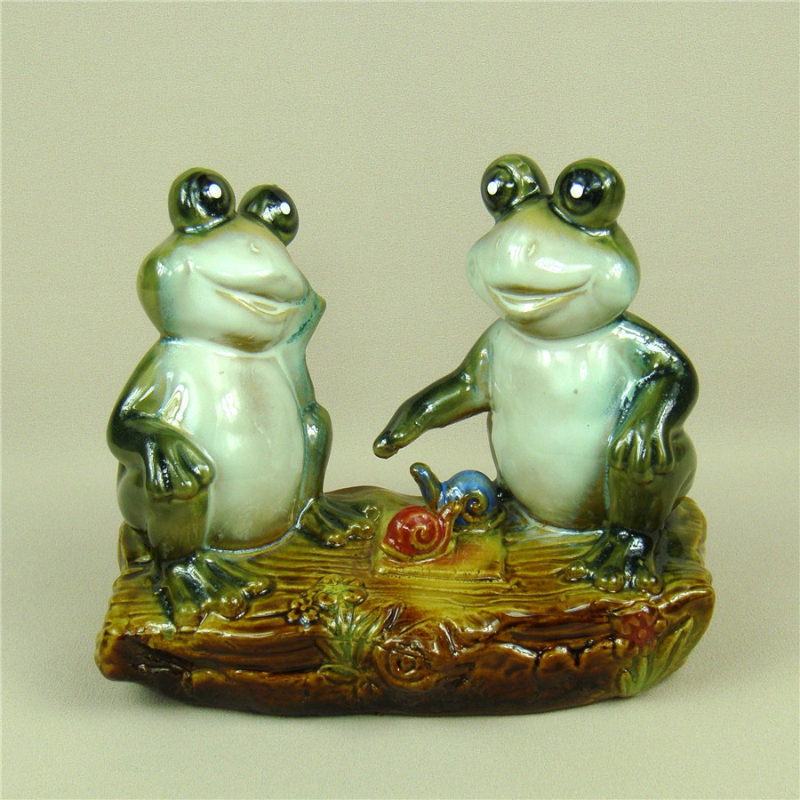 Statues & Sculptures Home Decor Persevering Porcelain Frog Lovers Statue Handmade Ceramic Snail Couple Miniature Darling Decor Craft Present Ornament Accessories Furnishing Agreeable To Taste