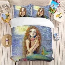 Cartoon anime mermaid 3d printed bedding set girls Room decoration Duvet Covers Pillowcases comforter sets bed linen