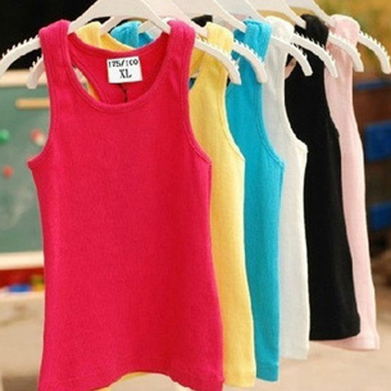 Children T Shirts Summer Style Boys Girls Clothes Vest Cotton Casual Sleeveless kids Candy Colors Sport Vests Out Wear