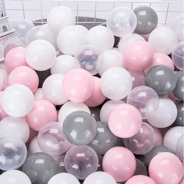 100Pcs 7CM Baby PVC Ocean Balls Toy For Pool Pit Grey White Pink Transparent Mix Sport Game stress ball Toys For Kids Tent Gift