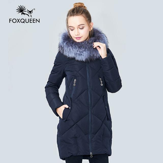 Foxqueen 2017 nuevo invierno de la muchacha de las mujeres acolchado delgado abrigo de algodón acolchado cálido abrigo de cuello de piel de zorro plateado libre gratis