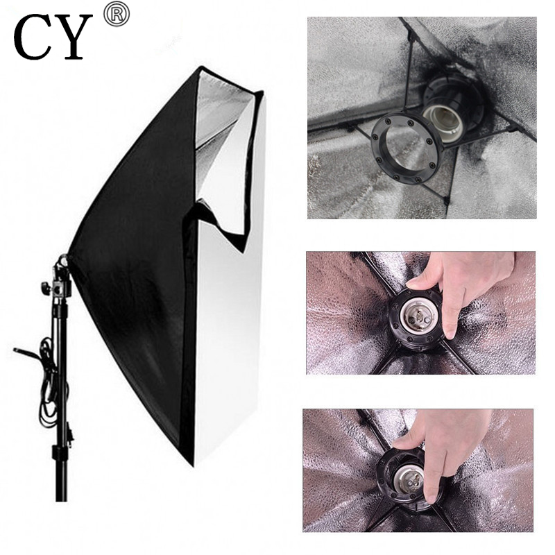 CY Photography Studio Softbox Kits 50x 70cm Folding Easy Single Lamp Socket Softbox+200cm Light Stand Photo Studio Soft Box Set