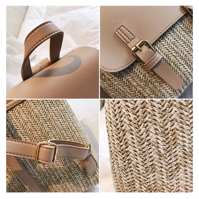 Women's Casual Straw Backpack