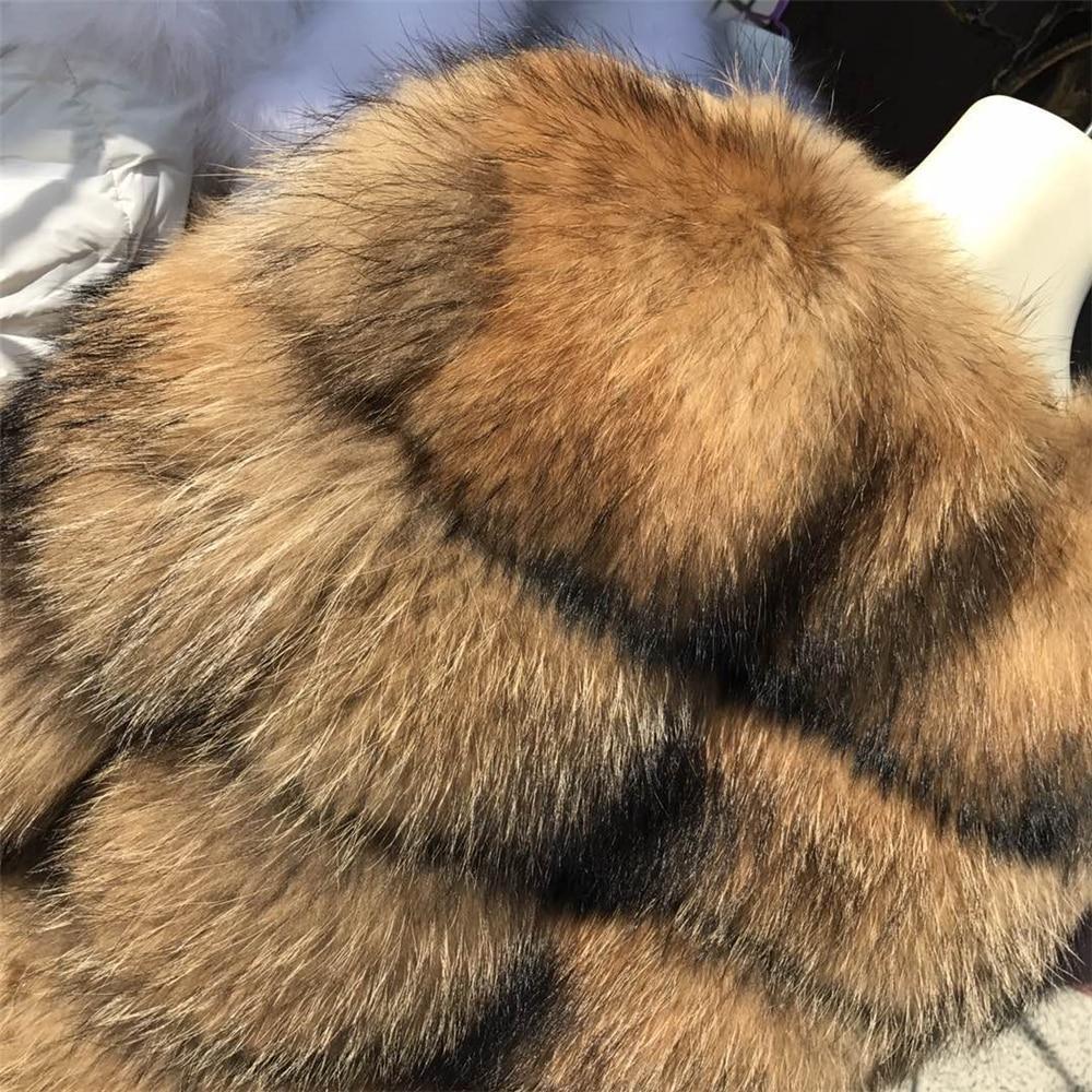 Пальто из натурального меха енота, женская зимняя пушистая Меховая куртка из натурального меха енота, пальто из натурального меха енота - 6