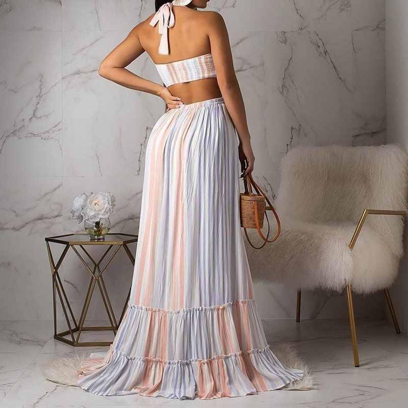Nouveau mousseline de soie Maxi Robe femmes élégant soirée rayure Boho Sexy licou Robe une ligne plissée grande balançoire été fête dos nu robes