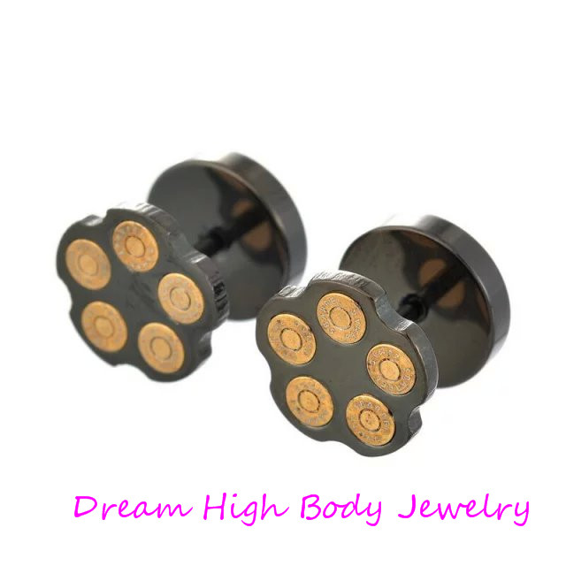 Punk Ear Stud Black Bullet 10mm Gold-color Earring Barbell For Men 316l Stainless Steel Gothic Silver Mens Fake Ear Plugs