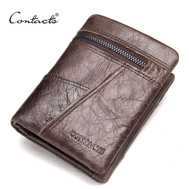 CONTACT'S Famous Brand Cowhide Men Wallets ZIpper Pocket Patchwork Leather Purse With ID Card Holder Deleted Coin Zipper Pocket