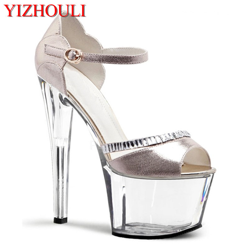 17cm with Europe and the United States show runway show shoes han edition of high grade gold flash Silver sandals