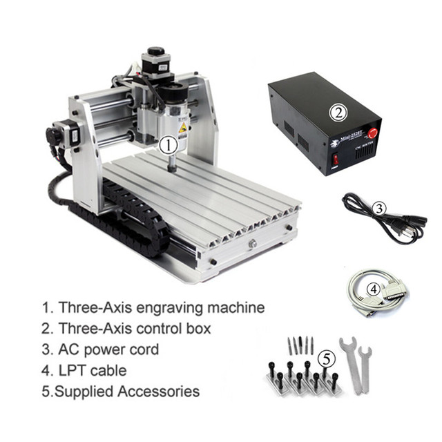 DIY mini CNC router machine 250*250mm working area 200W cnc milling machine