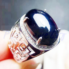 Мужское кольцо сапфировое кольцо натуральный настоящий синий сапфир серебро 925 пробы 14 карат большой драгоценный камень хорошее ювелирное изделие# FM18080208