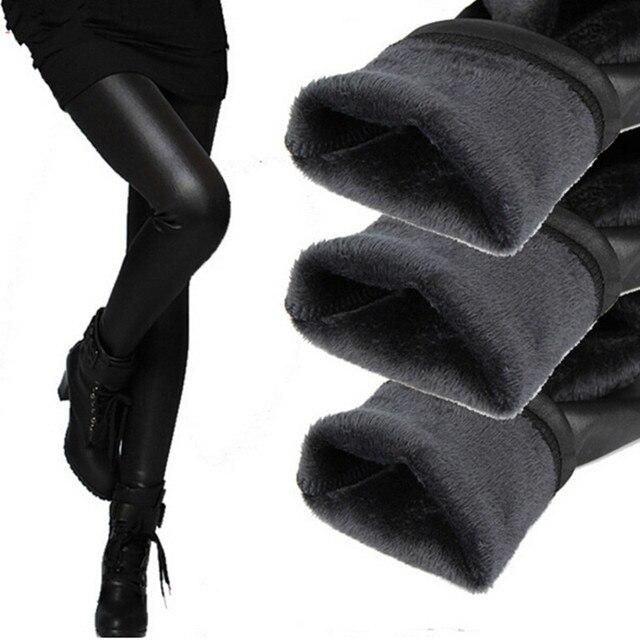 Winter fashion leather women leggings thickening skinny female leggins warm women's trousers for feminina out door wear legging