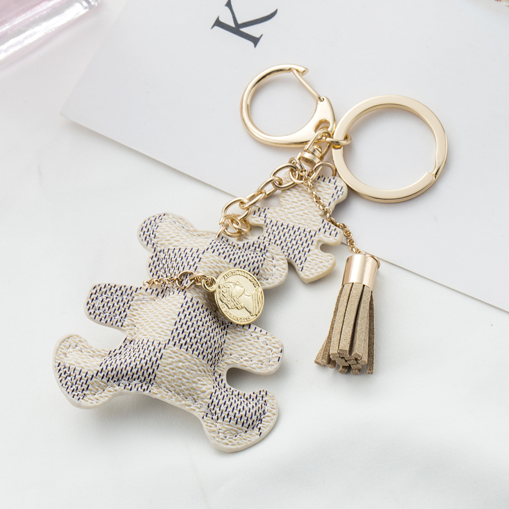 KISSWIFE 2017 New fashion!Pattern Bear PU Leather Tassel Ring Keyring Jewelry Key Chain Handbag Charm цена 2017