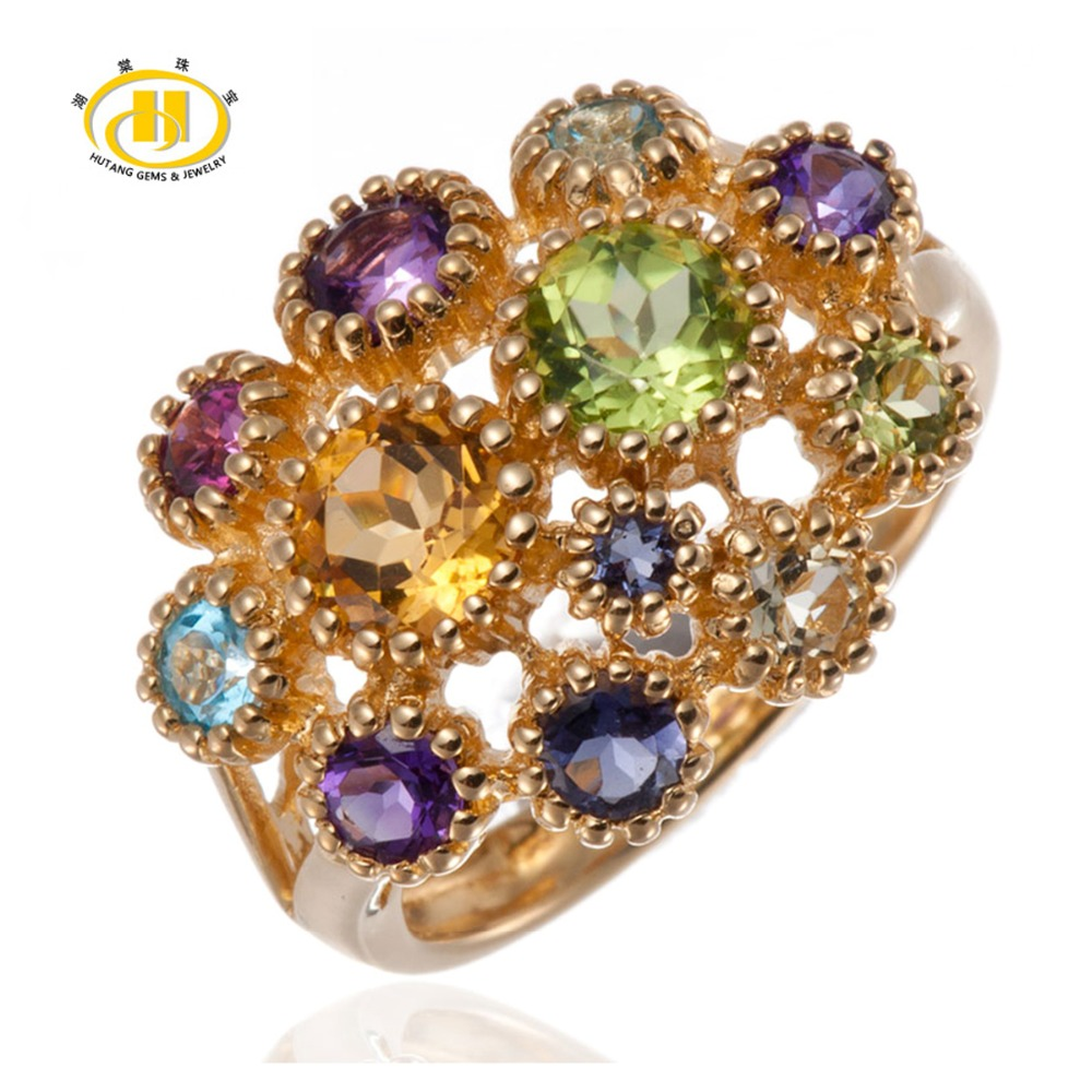 цены Hutang Natural Colorful Gemstones Solid 925 Sterling Silver Flower Ring For Women's Fine Jewelry