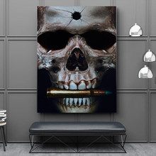 RELIABLI Pop Art Poster Print Skull Bit The Bullets Wall Painting picture For Living Room Home Decorative Abstract Art Picture(China)
