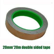 20 мм* 20 м двухсторонний проводник Лента Медная фольга лента более удобная проводящая медная фольга лента