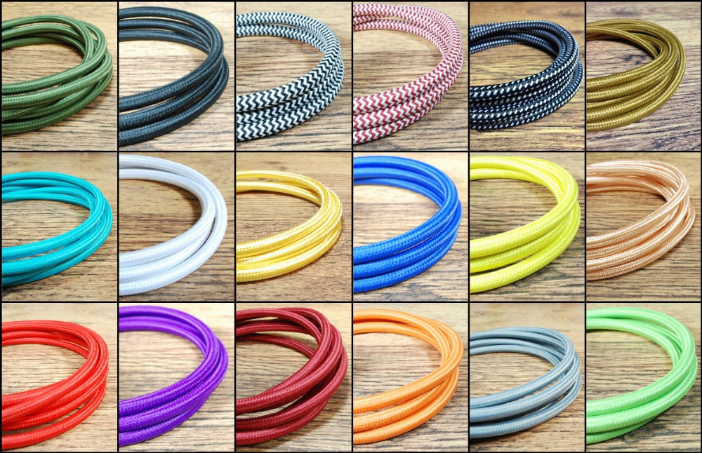 2m,3m,5m, or 10m/lot VDE certified <font><b>2</b></font> <font><b>core</b></font> Round Textile Electrical <font><b>Wire</b></font> Color Braided <font><b>Wire</b></font> Fabric Cable Vintage Lamp Power Cord image