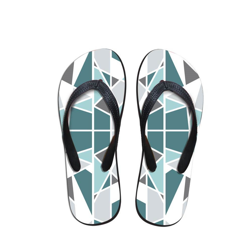 Comfort Men's Flip Flops Geometric Pattern Beach Shoes Outside Animals Design Sandals Teen Boys Fit Flops Slippers